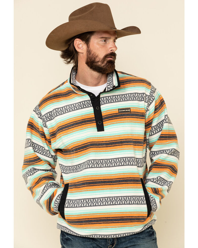 Cinch Men's Multi Light Aztec Striped Polar Fleece Pullover Sweatshirt , Multi, hi-res
