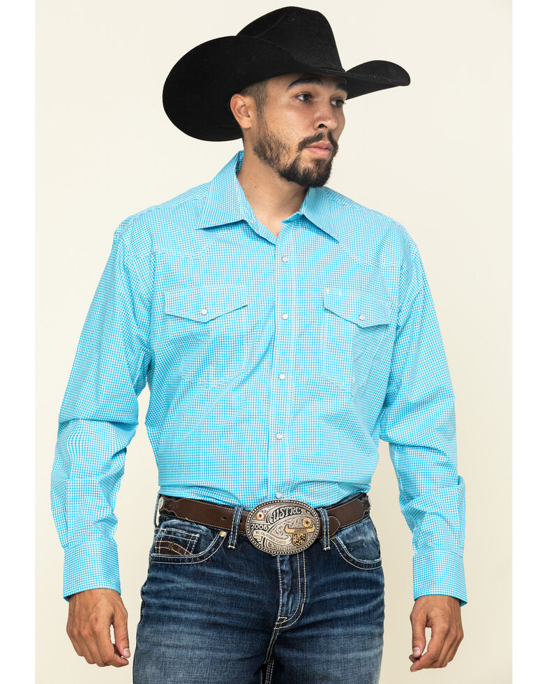 Roper Men's Amarillo Desert Sky Mini Plaid Long Sleeve Western Shirt , Blue, hi-res