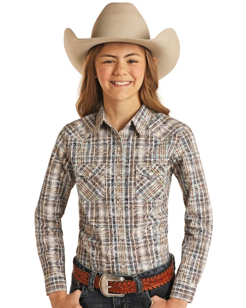 Rough Stock By Panhandle Girls' Natural Tan Paisley Plaid Long Sleeve Snap Western Shirt , Tan, hi-res