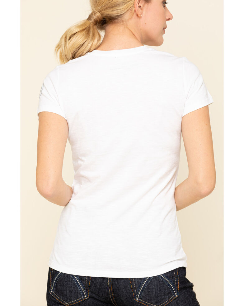 Dovetail Workwear Women's White Solid V-Neck Work Tee, White, hi-res