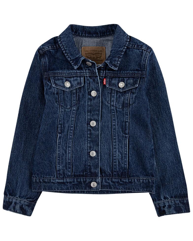 Levi's Toddler Girls' Dark Wash Denim Button-Down Trucker Jacket , Blue, hi-res