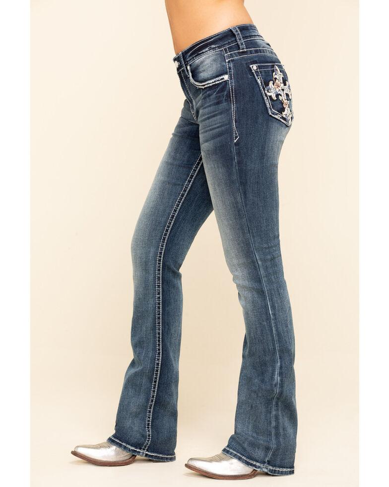 Grace in LA Women's  Medium Tropical Flower Cross Bootcut Jeans - Plus, Blue, hi-res