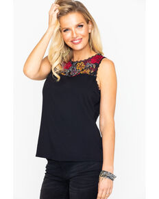 Idyllwind Women's Sweet Tea Floral Lace Tank, Black, hi-res