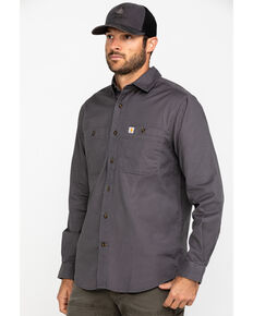 Carhartt Men's Rugged Flex Rigby Long Sleeve Work Shirt, Grey, hi-res