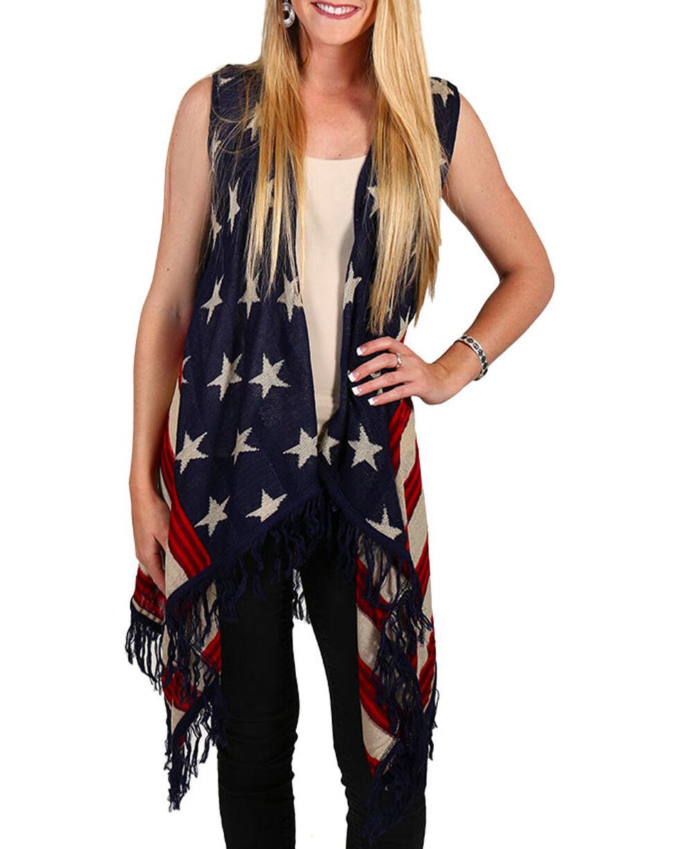 American Attitude Women's Americana Fringe Vest, Red/white/blue, hi-res