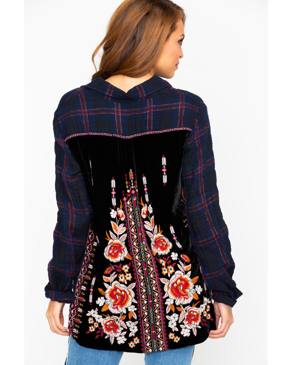 Johnny Was Women's Jyll Embroidered Back Woven Top , Multi, hi-res