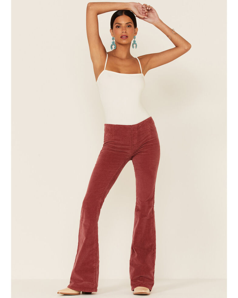 Free People Women's Pull-On Corduroy Flare Jeans, Ruby, hi-res