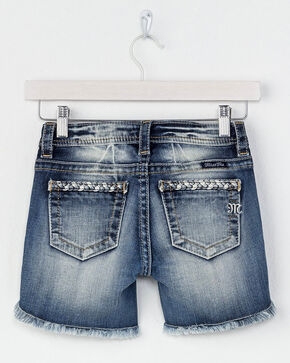 Miss Me Girls' Braided Trim Denim Shorts, Blue, hi-res