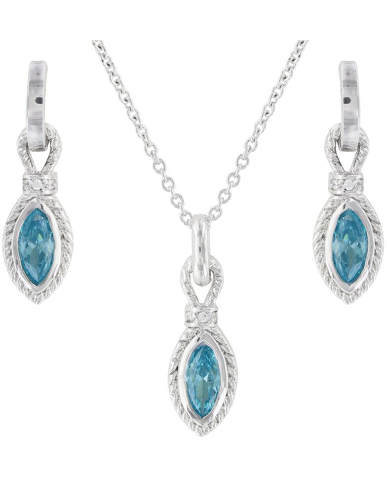 Montana Silversmiths Women's Roped Aqua Jewelry Set, Silver, hi-res