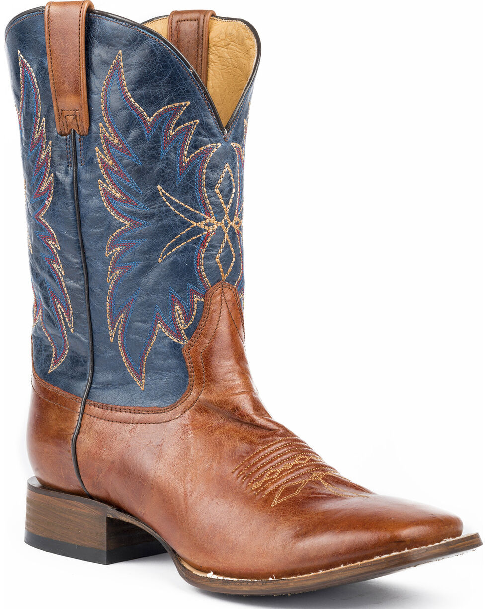 Roper Men's Chisholm Marbled Cowboy Boots - Square Toe, Brown, hi-res