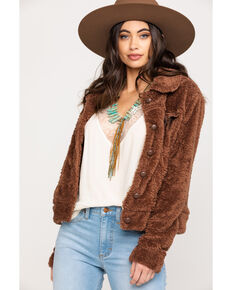 Stetson Women's Brown Faux Fur Jacket, Brown, hi-res
