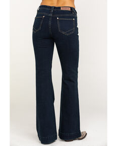 Rock & Roll Cowgirl Women's Dark Wash High Rise Trouser , Blue, hi-res