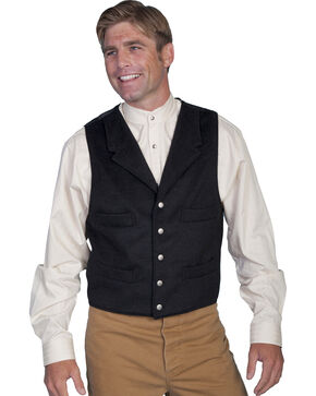 Wahmaker by Scully 4-Pocket Wool Vest, Black, hi-res