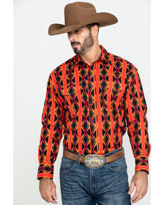 Wrangler Men's Silver Edition Orange Aztec Checotah Print Long Sleeve Western Shirt , Orange, hi-res