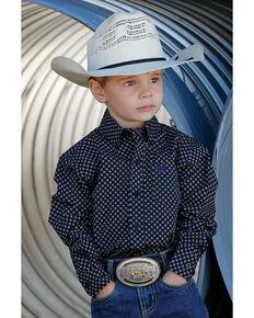 Cinch Toddler Boys' Black Geo Print Long Sleeve Western Shirt , Black, hi-res