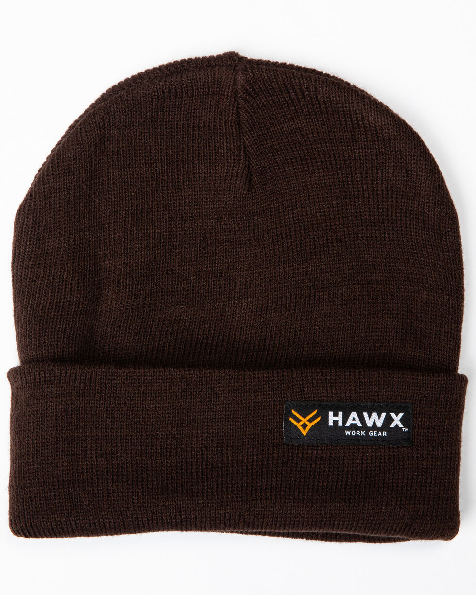 Hawx® Men's Brown Logo Bar Beanie, Brown, hi-res