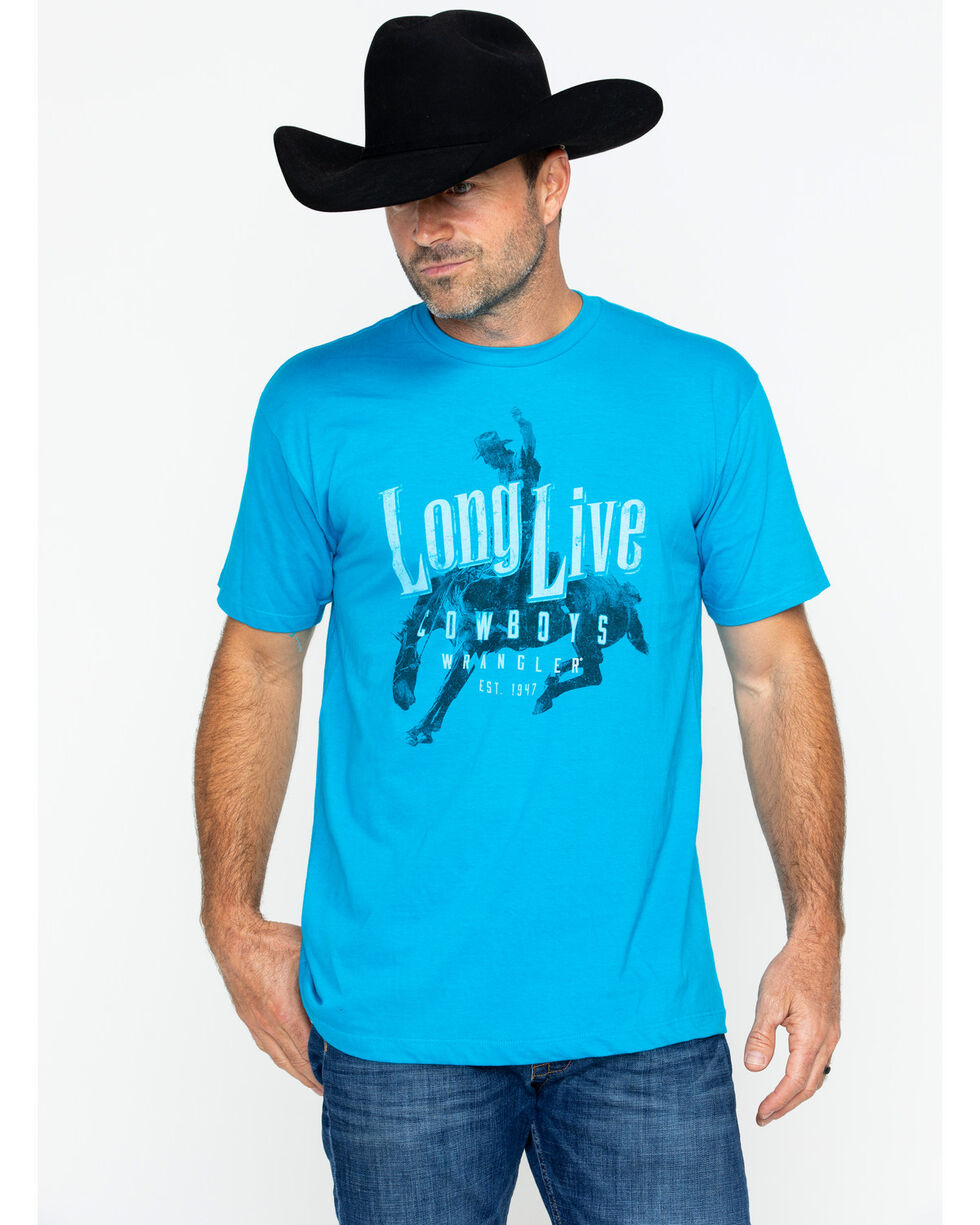 Wrangler Men's Long Live Cowboys T-Shirt , Turquoise, hi-res