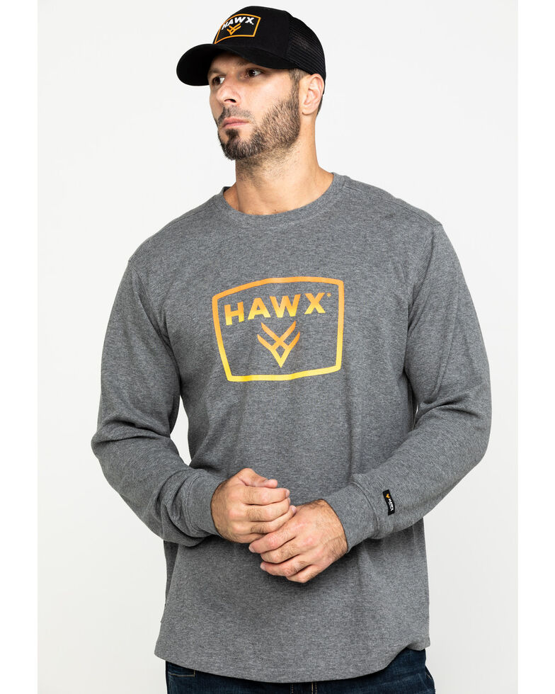 Hawx Men's Box Logo Graphic Thermal Long Sleeve Work Shirt - Tall , Charcoal, hi-res