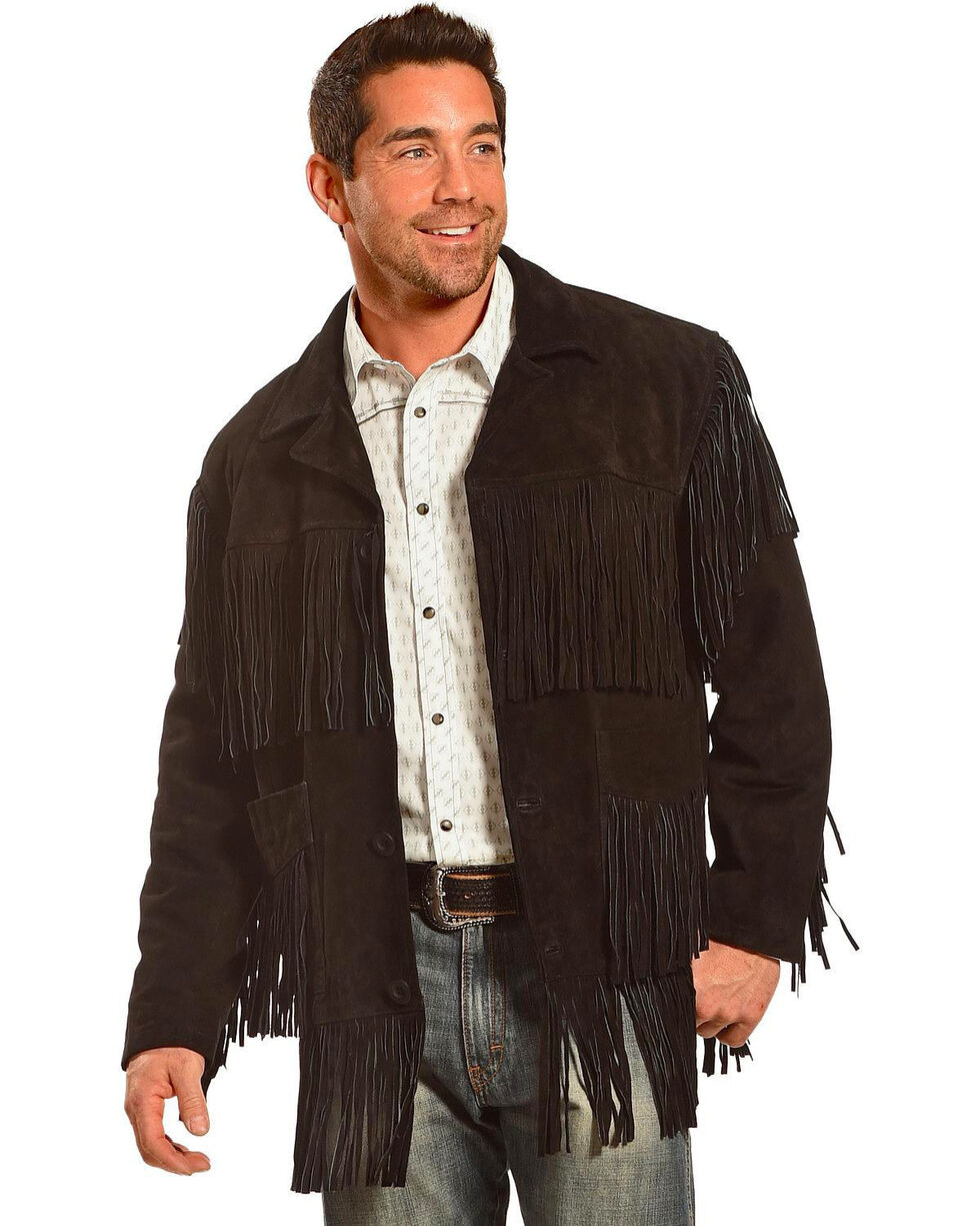 Liberty Wear Men's Fringe Suede Leather Jacket - Big, Black, hi-res