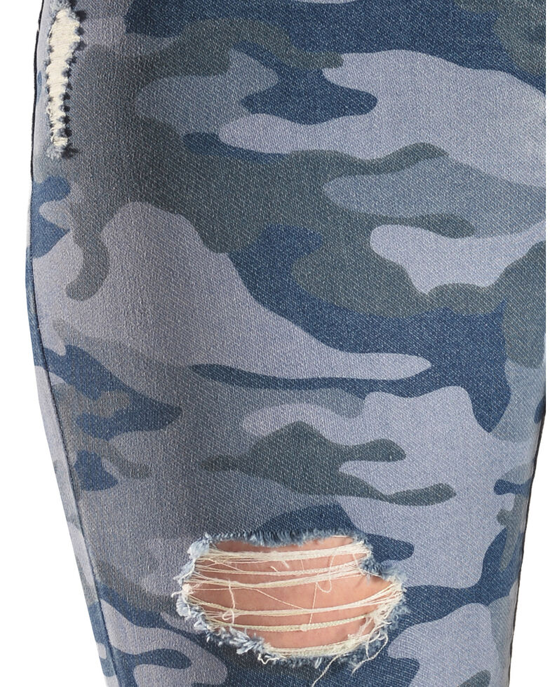 Tractr Women's High Rise Camo Skinny Jeans , Indigo, hi-res