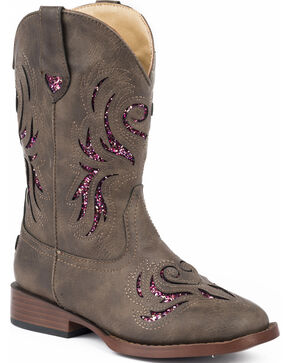 Roper Girls' Brown & Pink Glitter Breeze Cowgirl Boots - Square Toe , Brown, hi-res