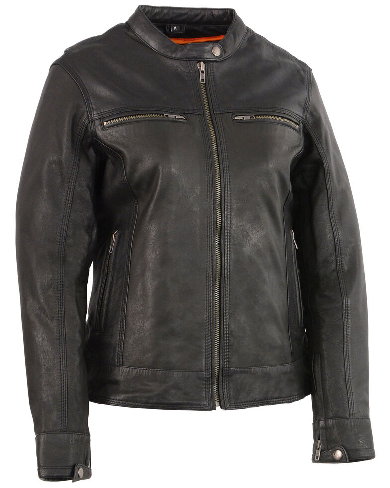 Milwaukee Leather Women's Lightweight Triple Stitch Vented Scooter Leather Jacket - 4X, Black, hi-res