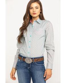 Cinch Women's Mint Geo Print Button Long Sleeve Western Core Shirt, Light Green, hi-res