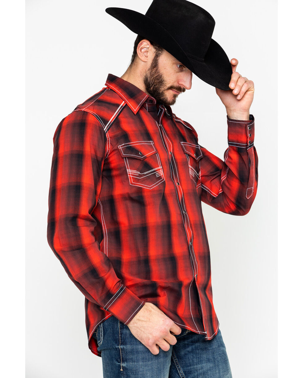 Ely and Walker Men's 1878 Plaid Long Sleeve Western Shirt , Red, hi-res