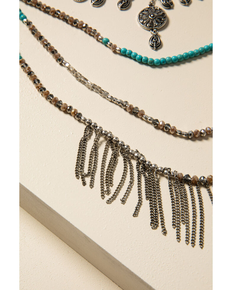 Shyanne Women's Sparkle N' Spice Turquoise Layered Fringe Necklace, Silver, hi-res