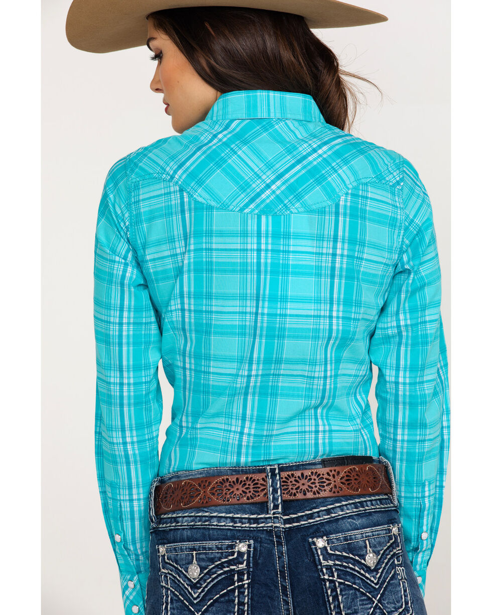 Ariat Women's REAL Essence Plaid Long Sleeve Western Shirt , Turquoise, hi-res