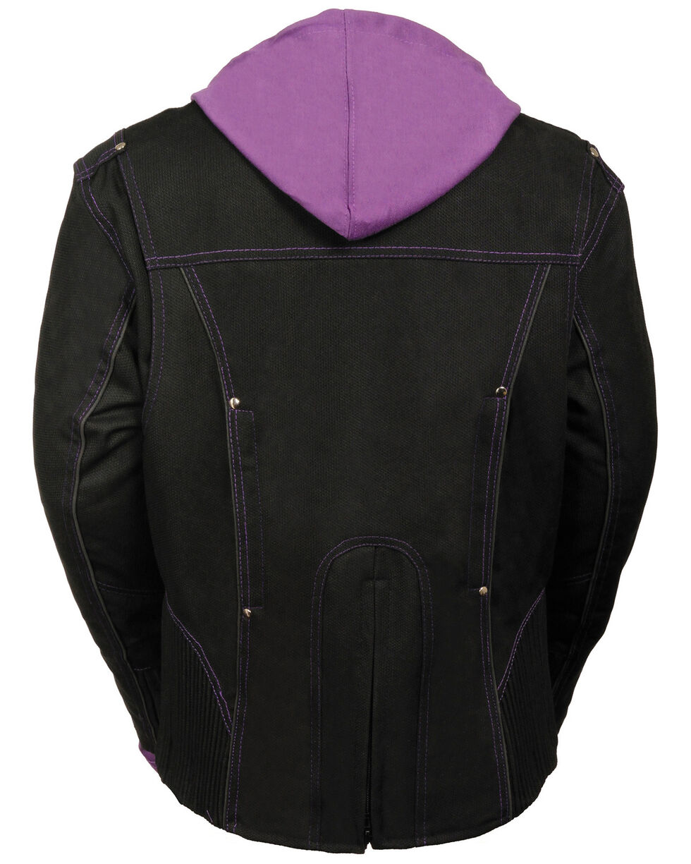 Milwaukee Leather Women's 3/4 Jacket With Reflective Tribal Decal - 4X, Black/purple, hi-res