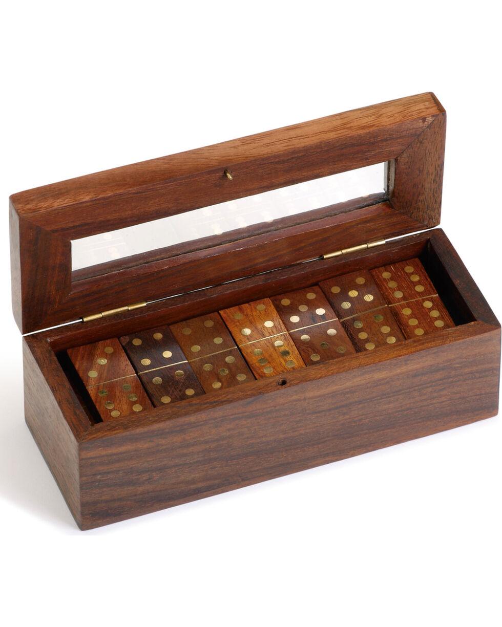 Demdaco Executive Wood Domino Game Set, Brown, hi-res