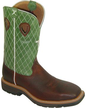 "Twisted X Men's 12"" Lite Cowboy Steel Toe Work Boots, Cognac, hi-res"