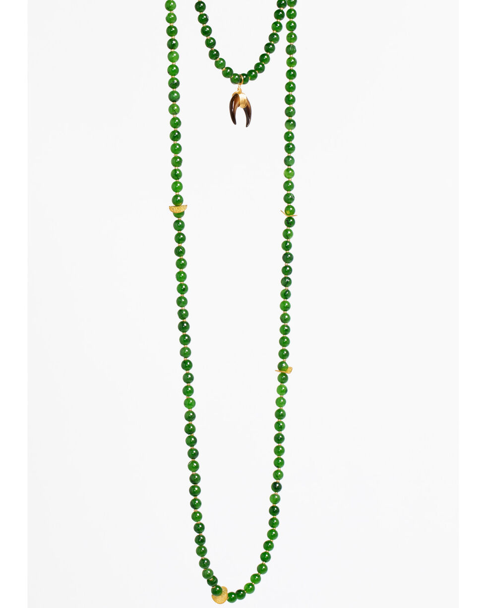 Everlasting Joy Jewelry Women's Green Cross Timbers Necklace , Green, hi-res
