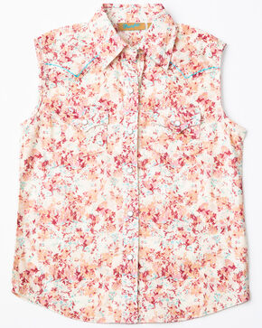 Wrangler Girls' Cream Rose Sleeveless Western Top, Pink, hi-res