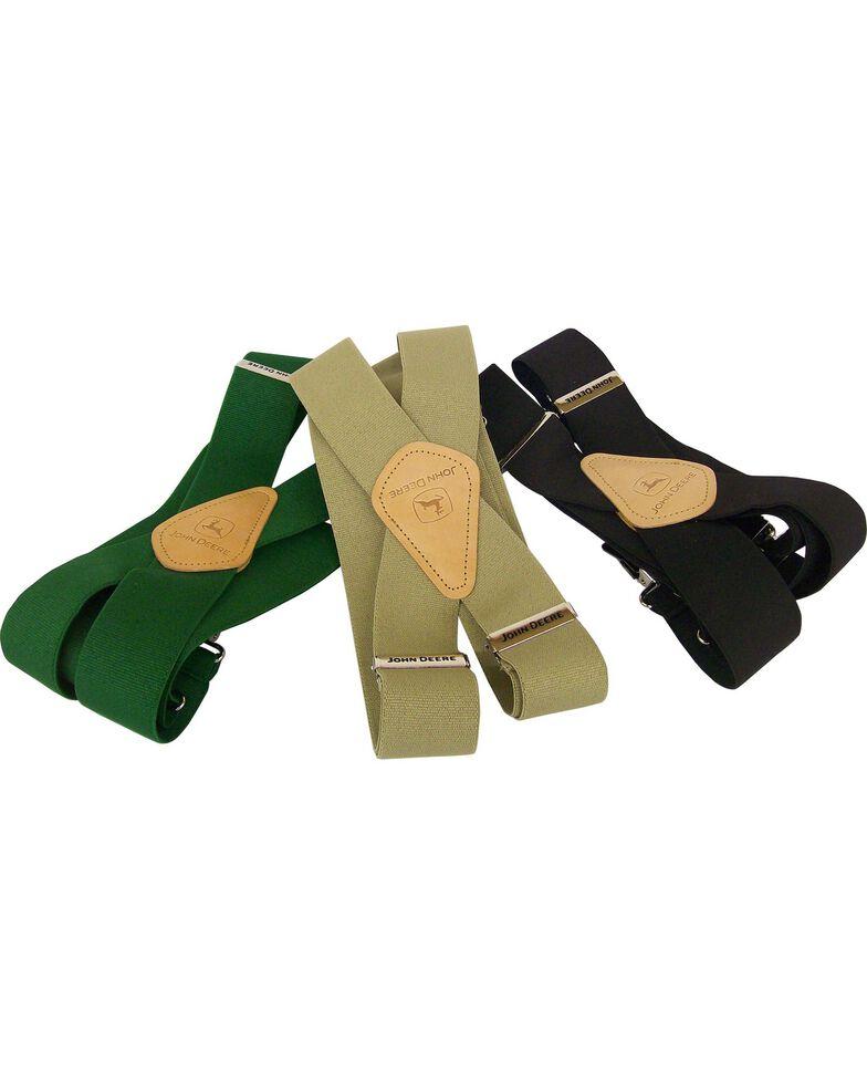 John Deere Leather Patch Suspenders, Khaki, hi-res