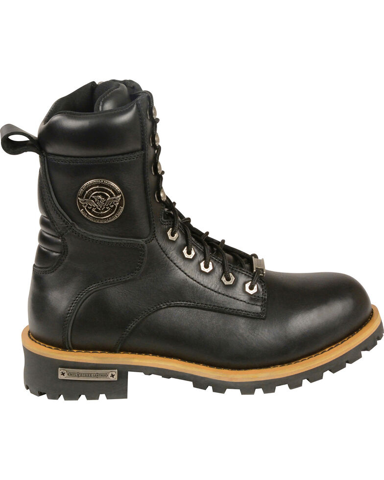 Milwaukee Leather Men's Lace To Toe Logger Boots - Round Toe, Black, hi-res