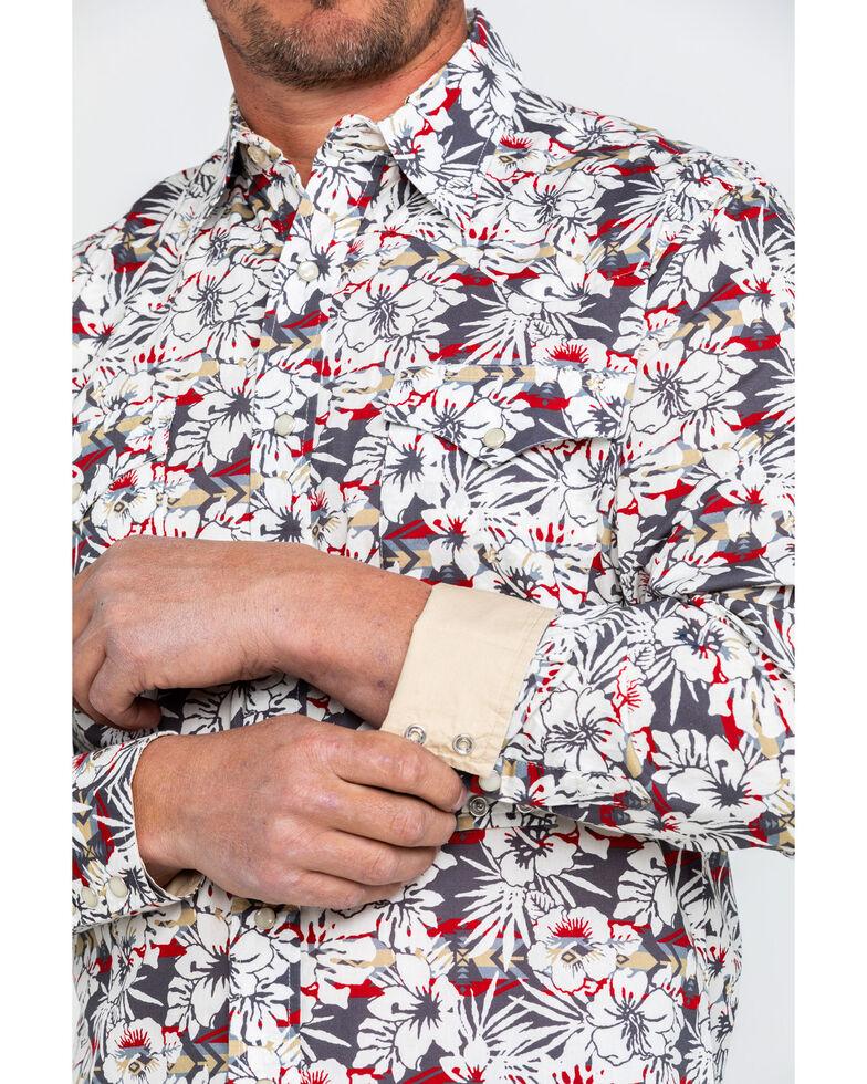 Roper Men's Floral Hawaiian Print Long Sleeve Western Shirt , Grey, hi-res