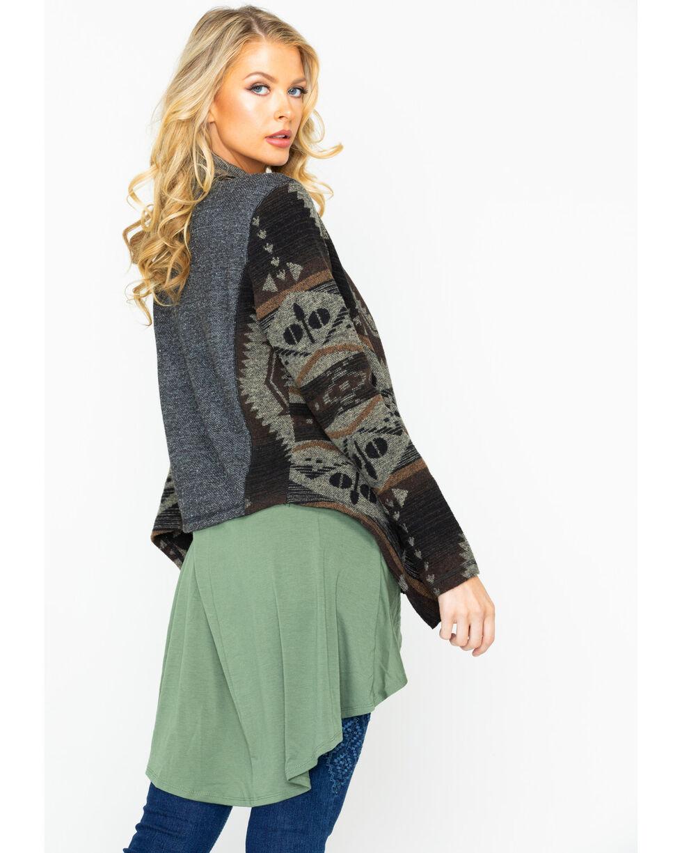Shyanne Women's Aztec Draped Woven Sweater Jacket , Brown, hi-res