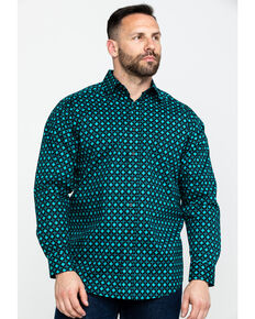 Tuf Cooper Men's Competition Geo Print Long Sleeve Western Shirt , Teal, hi-res