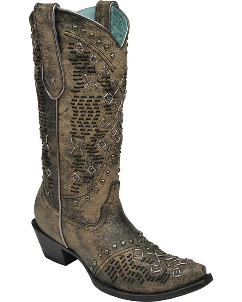 Corral Women's Metallic Knitting and Studded Western Boots, Black, hi-res