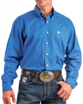 Cinch Men's Blue Print Button Up Shirt, Blue, hi-res