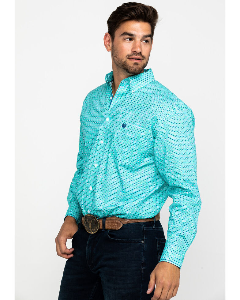 Rough Stock by Panhandle Men's Lyman Vintage Print Long Sleeve Western Shirt , Turquoise, hi-res