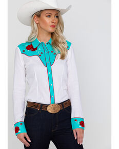 85ba9ae90e441 Rock   Roll Cowgirl Women s Retro Rose Embroidered Rodeo Long Sleeve  Western Shirt