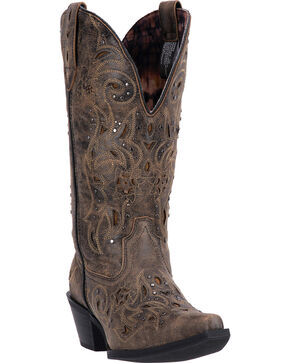 Laredo Women's Scandalous Studded Western Boots, Black, hi-res