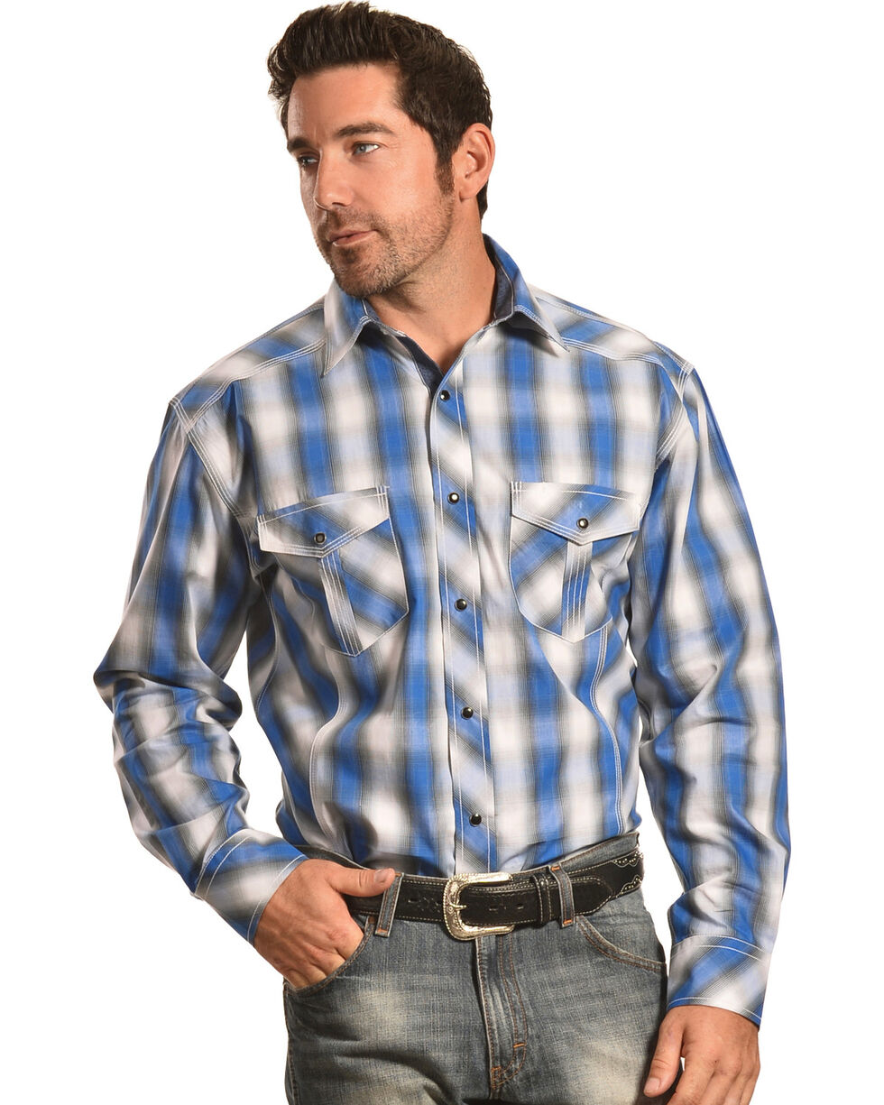 Crazy Cowboy Men's Blue Plaid Western Snap Shirt  , Blue, hi-res