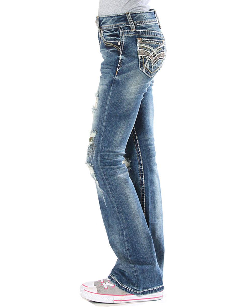 Grace in LA Girls' Real Tree Jeans (7-16) - Boot Cut , Indigo, hi-res