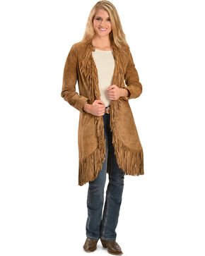 Scully Women's Suede Fringe Maxi Coat, Cinnamon, hi-res