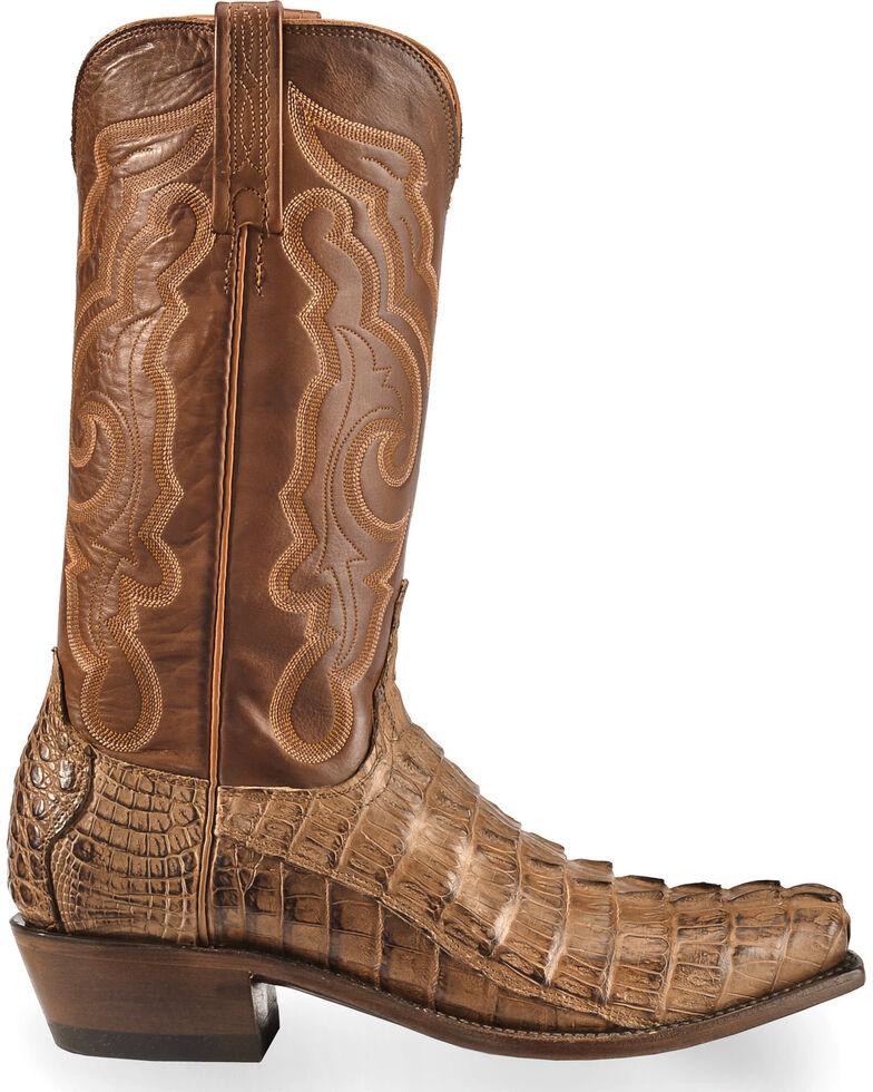 de19df0f9f6 Lucchese Men's Handmade Tan Franklin Hornback Caiman Tail Boots - Snip Toe