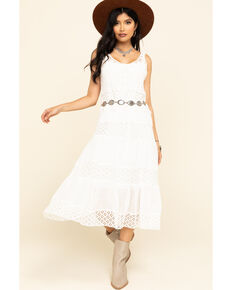 Joseph Studio Women's Crochet Top Tiered Lace Midi Dress, White, hi-res